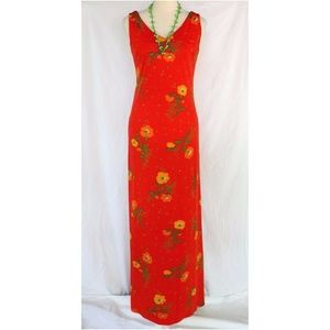 Vintage Neon Orange Floral Sleeveless Maxi Dress